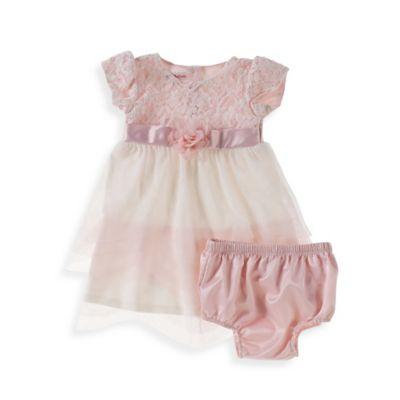 Sheryl Madison Size 2T 2-Piece Pink Lace Cap-Sleeve Dress and Diaper Cover Set