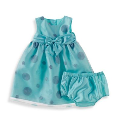 Sheryl Madison Size 6M 2-Piece Mint Dots Shantung Sleeveless Dress and Diaper Cover Set