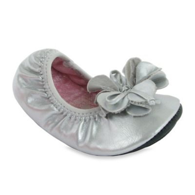 Natural Steps Size 9-12M Pearlized Foldable Ballet Flat in Silver