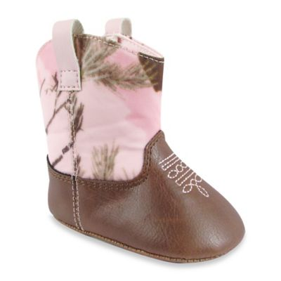 Natural Steps Size 0-3M Realtree Camo Western Boot in Pink/Brown