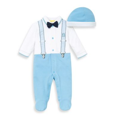 Little Me® Size 9M 2-Piece Suspender Footie and Hat Set
