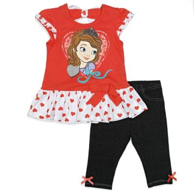 Disney® Sofia the First Size 12M 2-Piece Top and Faux Denim Legging Set