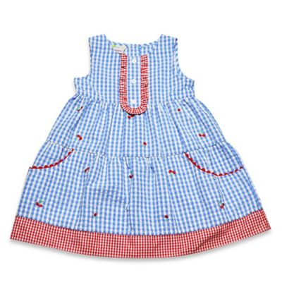Samara Size 3M 2-Piece Sleeveless Gingham with Cherries Dress and Diaper Cover Set in Blue
