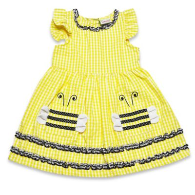 Samara Size 24M 2-Piece Flutter Sleeve Bumble Bee Dress and Diaper Cover Set in Yellow