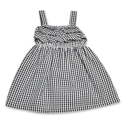 Samara Size 3T Seersucker Check Ruffle Dress in Black