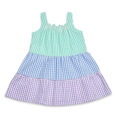 Samara Size 3M Sleeveless Tiered Seersucker Dress and Diaper Cover Set in Purple/Blue/Green