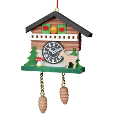 Christian Ulbricht Cuckoo Clock with Deer Hanging Christmas Ornament