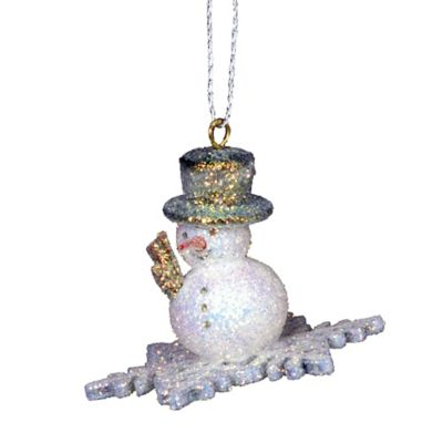 Christian Ulbricht Snowman on Snowflake Hanging Christmas Ornament