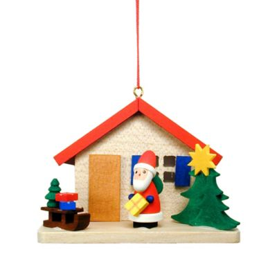 Christian Ulbricht Cottage with Santa Hanging Christmas Ornament