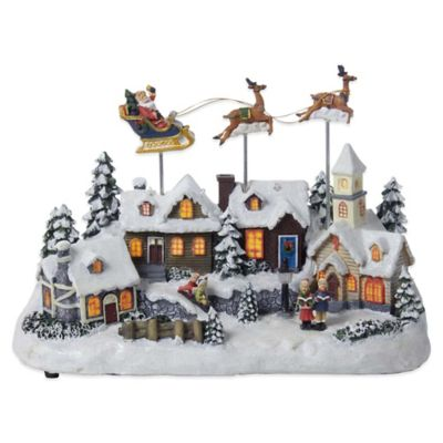 Kurt Adler Battery Operated Musical LED Village with Santa and Deer