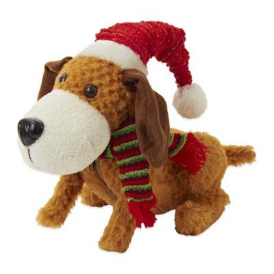 Kurt Adler Battery-Operated Plush Singing and Walking Dog