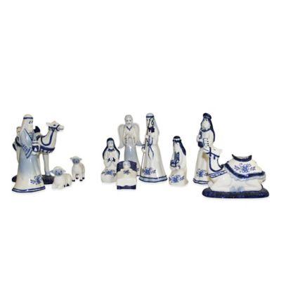 Kurt Adler Porcelain Delft Blue 11-Piece Nativity Set