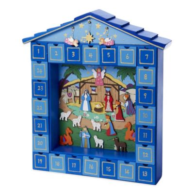 Kurt Adler Wooden Christmas Nativity Advent Calendar