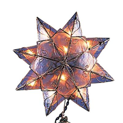 Kurt Adler 10-Light 8-Point Capiz Star Christmas Tree Topper