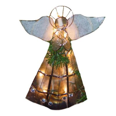 Kurt Adler 10 Light Capiz Angel Tree Topper with Trumpet