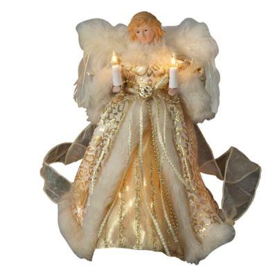 Kurt Adler 10-Light Angel Treetop in Ivory and Gold