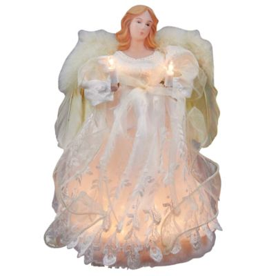 Kurt Adler 10-Light Ivory Angel Treetop
