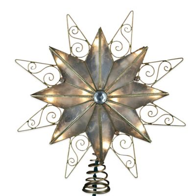 Kurt Adler 9-Inch 10-Light Capiz Star with Wire Trim Treetop