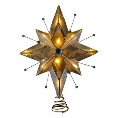 Kurt Adler 8.5-Inch 10-Light Capiz Wire Star Treetop