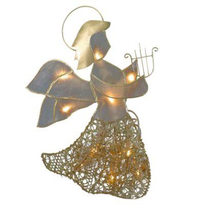 Kurt Adler 10-Light Capiz Angel with Harp Treetop in Gold