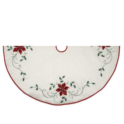 Kurt Adler 48-Inch Poinsettia Embroidered Christmas Tree Skirt