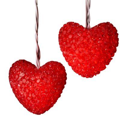 Kurt Adler 10-Light Heart Light Set in Red