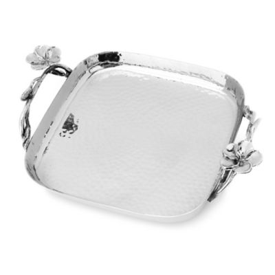 Classic Touch Frangipani 8-Inch Stainless Steel Square Tray