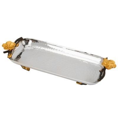Classic Touch Frangipani Footed Rectangular Tray