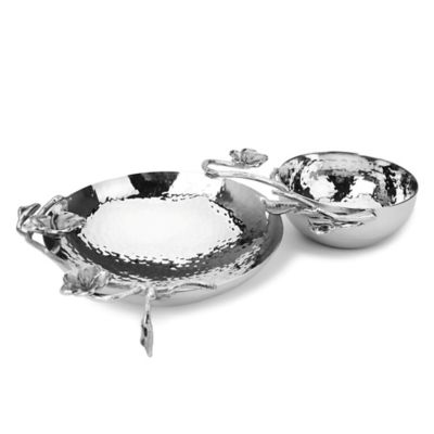 Classic Touch Frangipani Stainless Steel Double Bowl