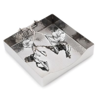 Classic Touch Frangipani Stainless Steel Napkin Holder