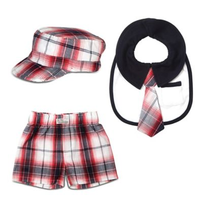 Itty Bitty & Handsome Size 0-6M 3-Piece Hat, Bib and Boxer Short Gift Set in Fire Truck