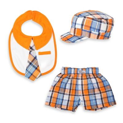 Itty Bitty & Handsome Size 6-12M 3-Piece Hat, Bib and Boxer Short Gift Set in Orange Soda