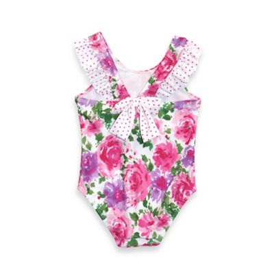 sol swim® Size 2T 1-Piece Vintage Floral Print Swimsuit in White/Pink