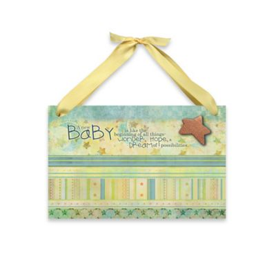 "Imagine Design Lil Star ""New Baby"" Plaque in Green"