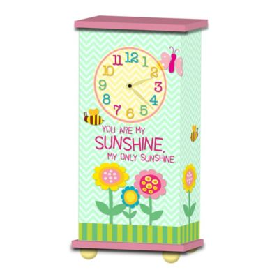 "Imagine Design ""You Are My Sunshine"" Treasured Times Clock in Green/Pink"