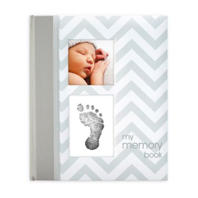 "Pearhead Chevron ""My Record Book"" Baby Book in Grey"