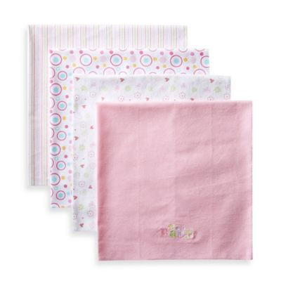 SpaSilk® Girls' 4-Pack Flannel Receiving Blankets in Pink Baby