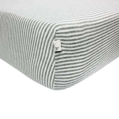 Burt's Bees Baby™ Bee Essentials Stripe 100% Organic Cotton Fitted Crib Sheet in Grey