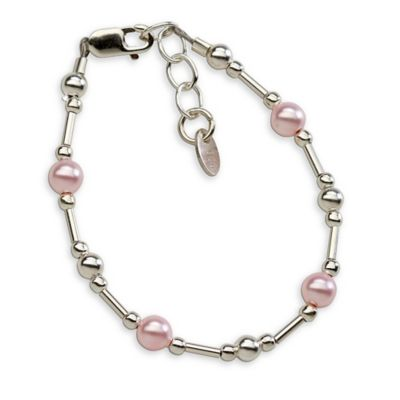 Cherished Moments Sterling Silver and Pink Swarovski Pearls New Arrival Baby Bracelet