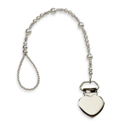Cherished Moments Heart Binky Clip with Pearls & Crystals
