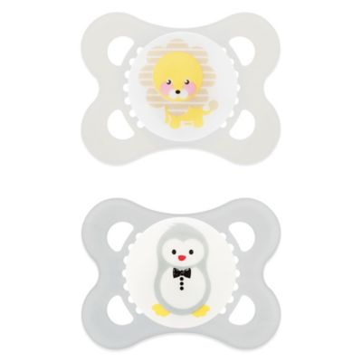 MAM Animals 0-6M 2-Pack Pacifiers in Yellow/Grey