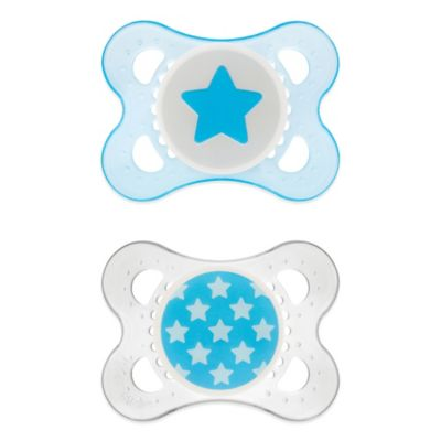 MAM Clear 0-6M 2-Pack Pacifiers in Blue
