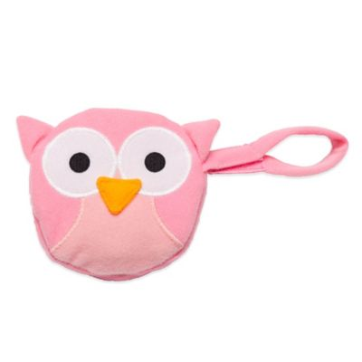 J.L. Childress Owl Pacifier Pal Pacifier Pocket in Pink