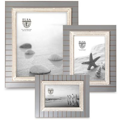 Elsa L Coastal 4-Inch x 6-Inch Picture Frame in Grey/White