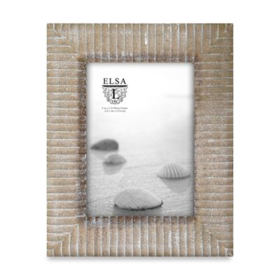 Elsa L Coastal Carved Lines 5-Inch x 7-Inch Picture Frame in Light Brown