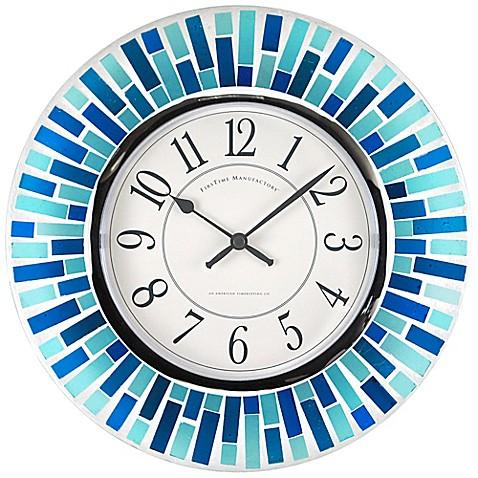 Firstime 174 Mosaic Wall Clock In Blue Www Bedbathandbeyond Com
