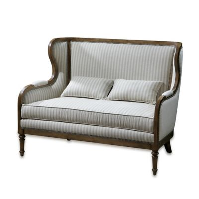 Uttermost Neylan High Back Loveseat in Beige Stripe