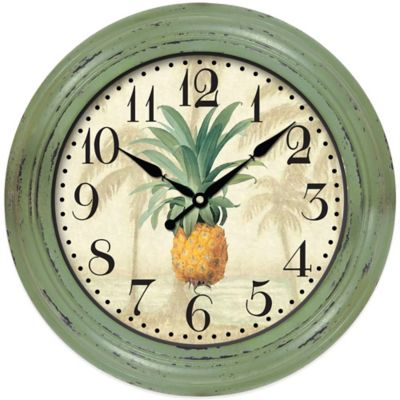 Pineapple Wall Clock in Green