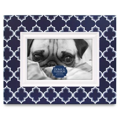 Home & Harbor Quatrefoil 4-Inch x 6-Inch Wood Picture Frame in Navy