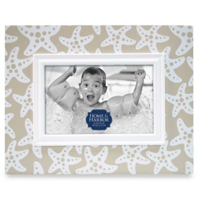 Home & Harbor Starfish 4-Inch x 6-Inch Wood Picture Frame in Taupe